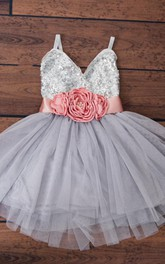 Mini Spaghetti Strap Tulle Dress With Sequins&Flower
