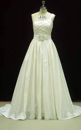 Single Shoulder Wedding With Pockets In Taffeta Dress