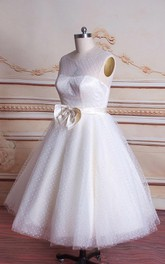 Ball Gown Tea-Length Tulle Satin Weddig Dress