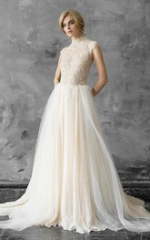 High Neck Tulle Lace Embroidered Wedding Dress