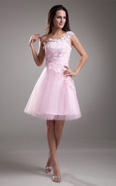 one-shoulder short a-line lace dress with tulle skirt