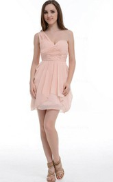 A-line Short One-shoulder Chiffon Dress With Ruffles