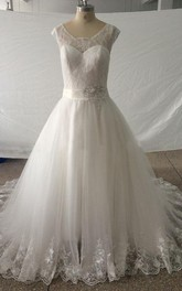 Square Cap Long Tulle Wedding Dress With Sash And Crystal Detailing