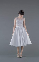 2 Piece Wedding Dress With Lace Top and A-Line Satin Skirt