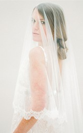 New Korean Style Bride Small Eyelash Lace Applique Veil Soft Tulle Veil