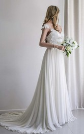 Sweetheart Cap-Sleeve Chiffon Pleated Wedding Dress With Floral Appliques And Sweep Train