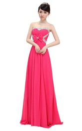 Strapless A-line Chiffon Gown With Beadings and Bow
