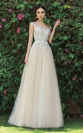 Elegant Tulle and Lace Sleeveless Floor length Bridal Gown with Applique and Pleats