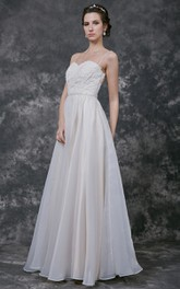 Sweetheart Pleated A-line Organza Dress With Spaghetti Straps