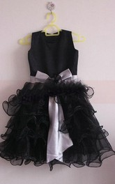 Satin Bodice Ruffled Organza Dress With Bow and Flower