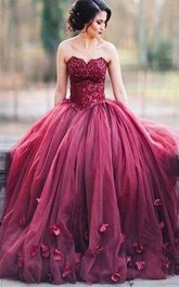 Ball Gown Sleeveless Sweetheart Applique Floor Length Tulle Dress
