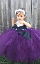 Sleeveless Pleated Tulle Ball Gown With Flower&Sash Ribbon