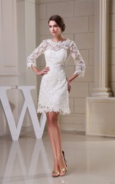 Refined A-Line Mini Dress with Appliques and Half Sleeve