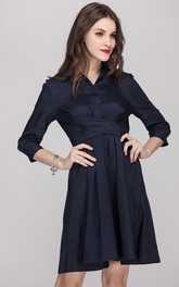 Cross Front 3/4 Sleeve  V-Neck Shirt Dress with Belt