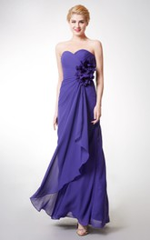 Front-draped Long Chiffon Gown With 3D Flowers