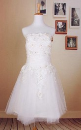 Beaded Short Tulle Wedding Dress With Lace Bodice and Straight Neckline