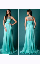 Sleeveless Long Chiffon Dress with Keyhole Back
