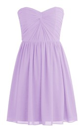 Simple Strapless Sweetheart Drapped Chiffon Short Dress
