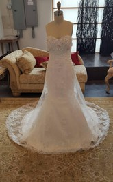 Intricate Sweetheart Mermaid Lace Beaded Wedding Dress With Sequined Flower