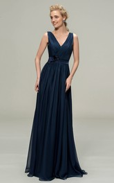V-neck Romantic Sleeveless Chiffon Floor-length Dress With Floral Appliques And Sash