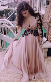 V-neck Long Sleeve Lace Prom Dresses Evening Dresses