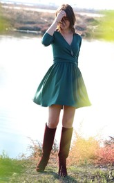 Country Short V-Neck Long Sleeve Dress