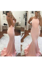 Trumpet Halter Sleeveless Satin Sweep Brush Train Dress