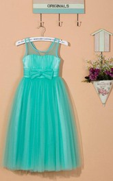 Scoop Neck Tea-length Tulle Dress With Bow&Flower