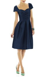 Vintage Anne Queen Pleated Satin Short Bridesmaid Dress
