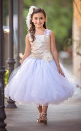 Lace Strapped Tulle Dress With Sequins&Flower&Sash Ribbon