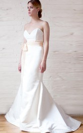 Bateau Low-V Back Sheath Long Satin Wedding Dress With Lace And Bow