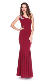 Hot One-shoulder Mermaid Dress With Rhinestone
