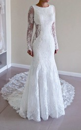 Scoop-Neck Lace Long Sleeve Backless Wedding Dress With Chapel Train