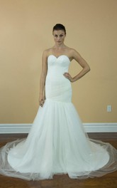 Simple Tulle Mermaid Wedding Dress With Ruching and Train