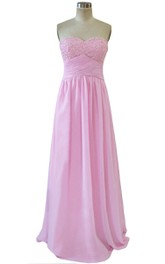 Bust-embellishmented Chiffon A-line Gown With Ruched Band