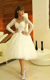 Modern Sweetheart Long Sleeve Short Wedding Dress With Lace Appliques