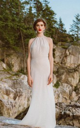 Halter Neck Sleeveless Backless Sheath Long Chiffon Wedding Dress