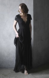 Black Scalloped V-neck Chiffon Wedding Dress With Lace Appliques Short Sleeve And Illusion Back