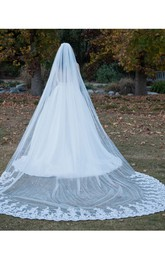 Single Layer Wedding Veils With Lace Super Long Tail Veil Headdress