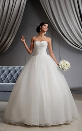 A-Line Sweetheart Sleeveless Princess Ball Gown With Bow And Corset Back