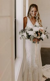 Simple Lace Sleeveless Deep-V Back Bridal Gown with Court Train