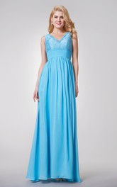 Elegant Sleeveless A-line Long Chiffon and Lace Dress