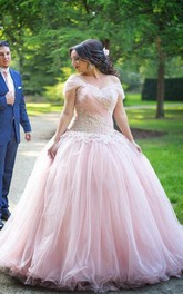 Ball Gown Off-the-shoulder Sleeveless Applique Floor Length Tulle Plus Size Dress