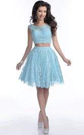 Crop Top Lace Skirt A-Line Prom Dress With Bateau Neck And Beadwork