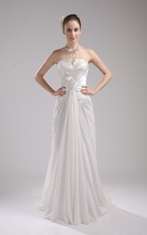 Strapless Notched Floor-Length Gown with Pleats