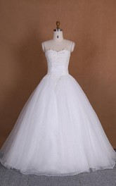 Ball Gown Sweetheart Tulle Lace Dress With Beading