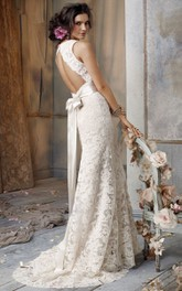 Delicate Sleeveless V-Neck Lace Gown With Bow at Back