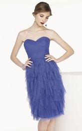 Sweetheart Knee Length Tulle Prom Dress With Tiered Skirt