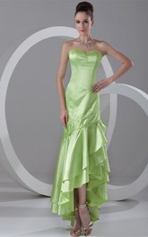 Sweetheart High-Low Tiered Dress with Beading and Draping