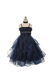 Spaghetti Strap A-line Ankle Length Organza Dress With Beading Belt